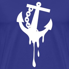 Royal blue anchor dripping bleeding rockabilly T-Shirts