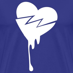 Royal blue CRACKED LOVE HEART BLEEDING T-Shirts - Men's Premium T-Shirt