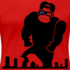Red 3D GORILLA RAMPAGE GEEK LIKES TO TRASH THIS CITY Plus Size - Women's Premium T-Shirt