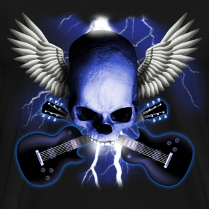 Black skull_and_wings_and_guitars T-Shirts - Men's Premium T-Shirt