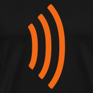 Design ~ black heavyweight tee shirt with radio wave on front, soundwave on back