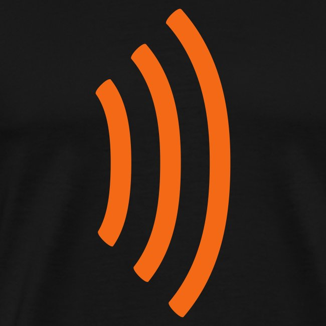 black heavyweight tee shirt with radio wave on front, soundwave on back