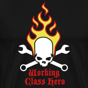 Black fire_skull_working_class_hero_b_3c T-Shirts - Men's Premium T-Shirt