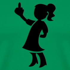 Kelly green LITTLE GIRL FLIPPING THE BIRD pulling a rude finger T-Shirts