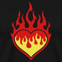 Black Flaming Heart T-Shirts