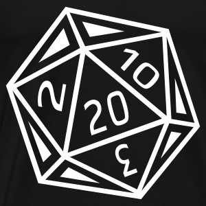 D20 T-Shirt - White Dice - Men's Premium T-Shirt