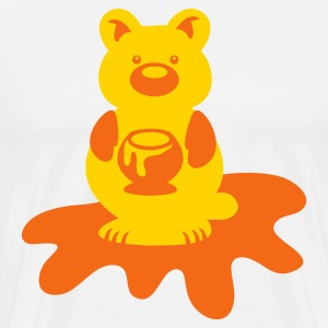White HONEY BEAR with sticky honey pot T-Shirts - Men's Premium T-Shirt