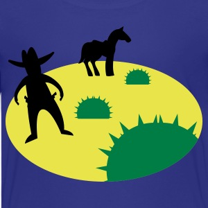 wild west sheriff outlaw in a scene with cactus and a horse two Kids' Shirts - Kids' Premium T-Shirt