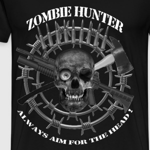 Zombie Hunter always aim for the head white text T-Shirts - Men's Premium T-Shirt