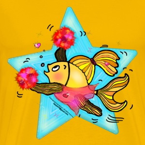 Cheerleader Fish cute funny sparky comics Cheer (Clear Background)  - Men's Premium T-Shirt