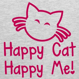 HAPPY CAT HAPPY ME with cute little kitty cat  T-Shirts - Men's Premium Tank