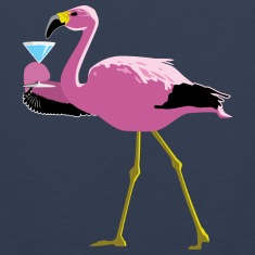 Pink Flamingo Drinking A Martini