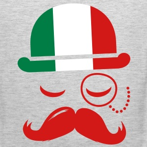 Italian nation fashionable vintage iconic gentleman with flag and Moustache olympics sports italy country T-Shirts - Men's Premium Tank