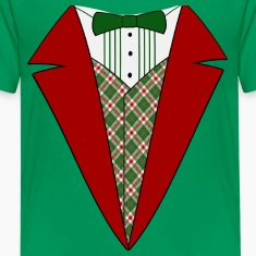Funny Christmas Tuxedo, Red and Green Tux Kid's T-Shirt