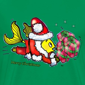 Santa Clause Fish - funny cute Christmas cartoon - Men's Premium T-Shirt