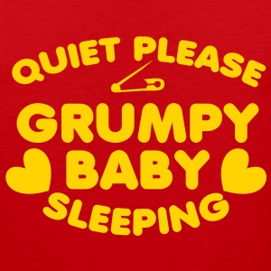 Quiet PLEASE GRUMPY baby sleeping with a safety pin and love hearts T-Shirts - Men's Premium Tank