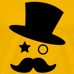 top hat and monocle with mustache T-Shirts - Men's Premium T-Shirt
