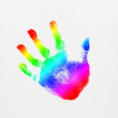 Hand print - Rainbow - Imprint, Fingerprint, palm, high five perfect for hoodies, tshirts, tanks, iphone cases, ipad cases, etc!  T-Shirts