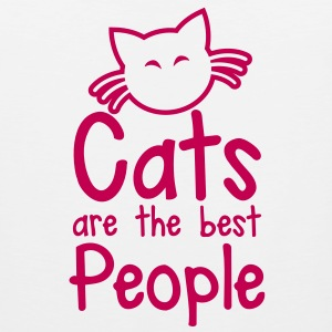 CATS are the best people! with cute little kitty cat and whiskers T-Shirts - Men's Premium Tank