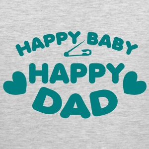 happy baby happy dad with love hearts T-Shirts - Men's Premium Tank