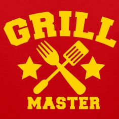 grill master BBQ barbecue design with fork and patty scraper T-Shirts