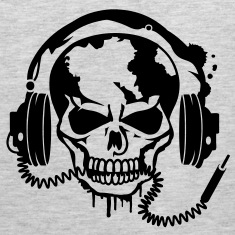 Skull with headphones. T-Shirts