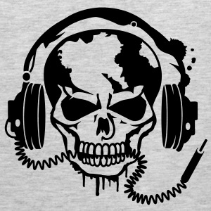 Skull with headphones. T-Shirts - Men's Premium Tank