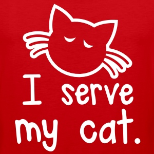 I SERVE MY CAT with cute little kitty face T-Shirts - Men's Premium Tank