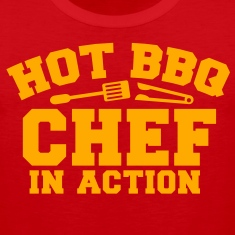 HOT BBQ CHEF in ACTION! with spatula and BBQ tongs T-Shirts