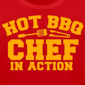 HOT BBQ CHEF in ACTION! with spatula and BBQ tongs T-Shirts - Men's Premium Tank