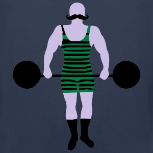 Old-school retro strongman weightlifter Tank Tops - Men's Premium Tank