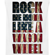 Design ~ Rock Me Moma Like A Wagon Wheel American Flag Tank Top