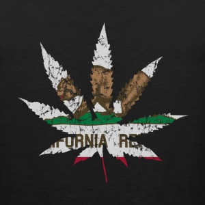 California Republic Flag Pot Leaf Tank Tops - Men's Premium Tank