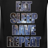 Design ~ Eat Sleep Rave Repeat Stars Sleeveless Tank Top