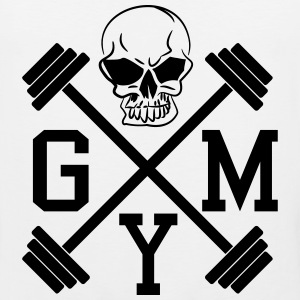Gym Skull Dumbbell Barbell Weight Athletics 1c Tank Tops - Men's Premium Tank