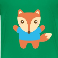 cute little fox in blue Kids' Shirts