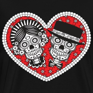 Sugar Skull Couple T-Shirts - Men's Premium T-Shirt