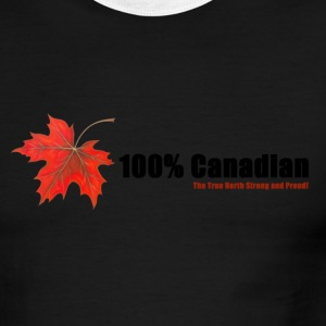 White/red 100% Canadian T-Shirts - Men's Ringer T-Shirt