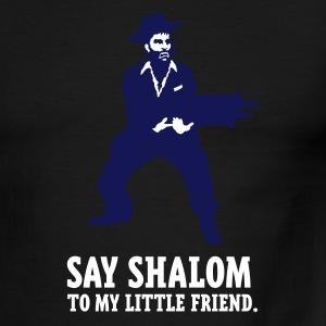 Sky/navy say shalom (white) Men - Men's Ringer T-Shirt