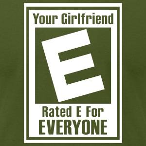Olive Rated E For Everyone T-Shirts - Men's T-Shirt by American Apparel