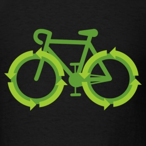 Black Go Green Bike Recycle  T-Shirts - Men's T-Shirt