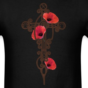 Black Iron Cross Rusty With Red Poppies T-Shirts - Men's T-Shirt