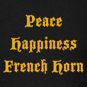 Peace, Happiness, French Horn - Men's T-Shirt
