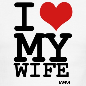 White/black i love my wife by wam T-Shirts - Men's Ringer T-Shirt