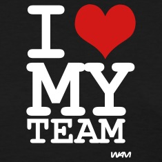 Black i love my team by wam Women's T-Shirts
