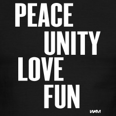 Black/white peace unity love fun ( zulu nation ) by wam T-Shirts