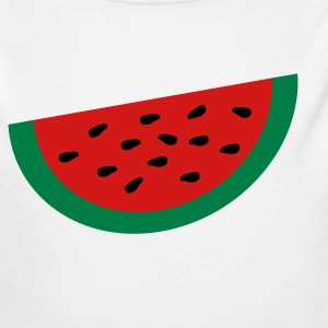 White Large Watermelon Slice Baby Body - Long Sleeve Baby Bodysuit