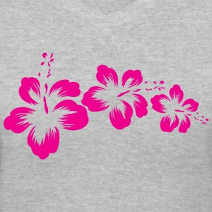 3 pink hibiscus - Women's V-Neck T-Shirt