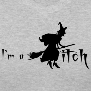 Gray I'M A WITCH Women's T-Shirts - Women's V-Neck T-Shirt