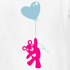 White teddy with heart balloon Kids' Shirts - Kids' T-Shirt
